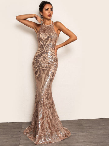 Pink Backless Sleeveless Tie Back Chain Detail Fishtail Hem Sequin Dress