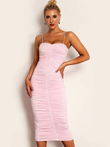 Pastel Pink Spaghetti Strap Sleeveless Sweetheart Neck Ruched Cami Pencil Dress