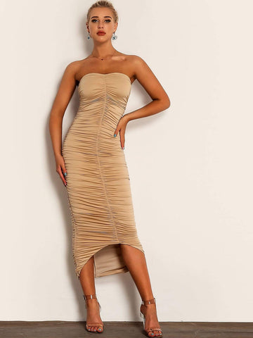 Strapless Sleeveless Dip Hem Ruched Tube Bodycon Dress