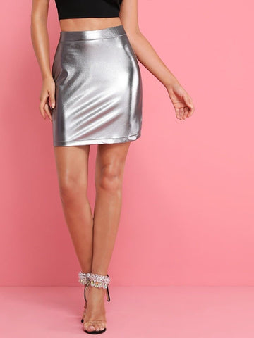 Silver High Waist Metallic Pencil Skirt