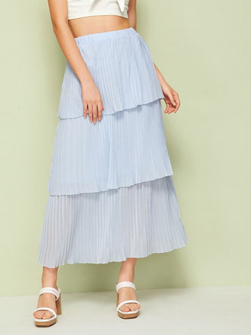 Blue Mid Waist Tiered Layer Pleated Skirt