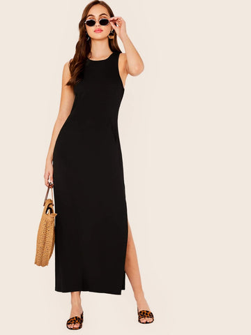 Black Round Neck Sleeveless Solid Slant Pocket Split Side Tank Dress