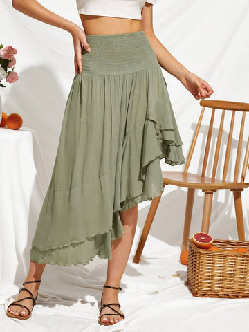 Green Shirred High Waist Asymmetrical Hem Flowy Skirt