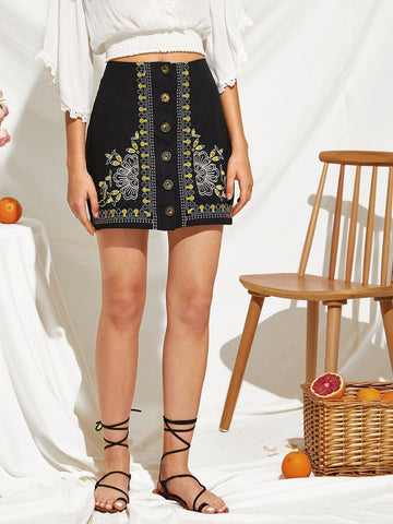 Black Cotton Mid Waist Embroidered Botanical Button Up Mini Skirt