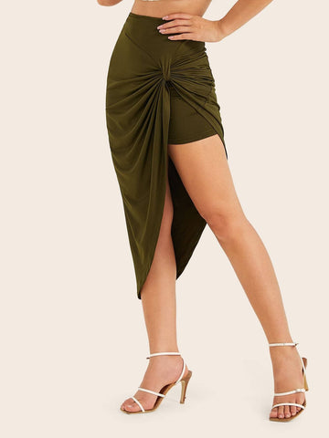 Army Green Mid Waist Twist Detail Asymmetrical Hem Skirt