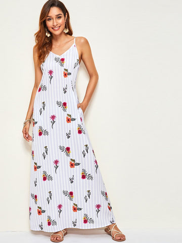Spaghetti Strap Sleeveless Floral & Striped Print Slant Pocket Maxi Cami Dress