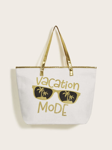 Double Handle Letter Print Tote Bag