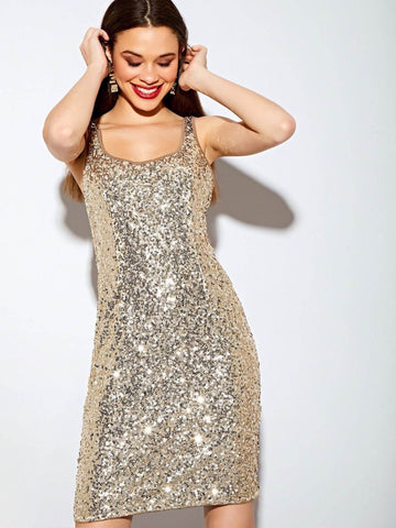 Scoop Neck Sleeveelss All Over Sequin Bodycon Dress
