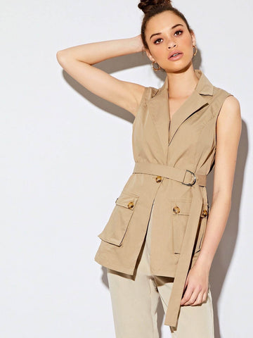 Khaki Single Button Sleeveless Belted Utility Jacket