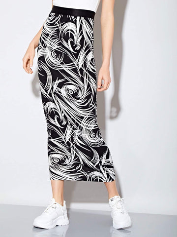 Black and White High Waist Swirl Print Jersey Maxi Skirt