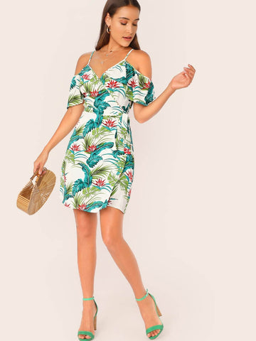 half Sleeve Spaghetti Strap Cold Shoulder Tropical Print Self Tie Wrap Dress