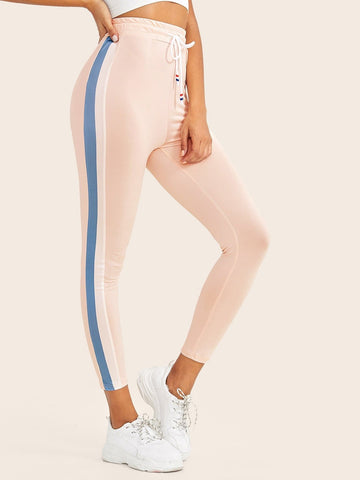Pink Contrast Panel Side Drawstring Waist Crop Leggings