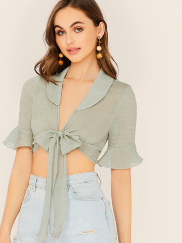 Pastel Green Tie Front Peter Pan Collar Ruffle Sleeve Sheer Wrap Blouse