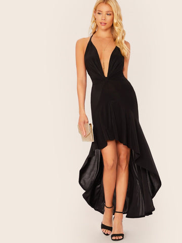 Black Sleeveless Cinched Deep V-Neck Cross Straps High Low Dress