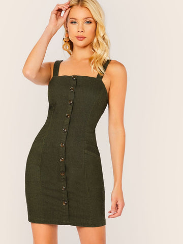 Army Green Sleeveless Button Detail Denim Pocket Dress