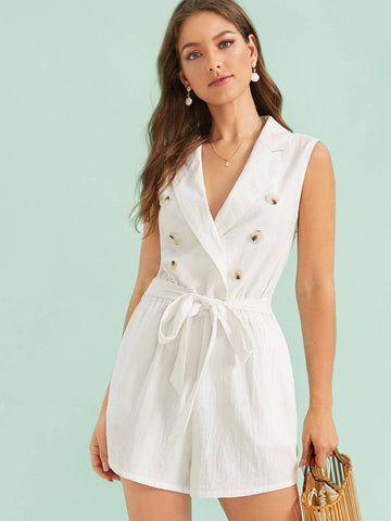 White Sleeveless Notched Collar Double Breasted Belted Romper Jumpsuit