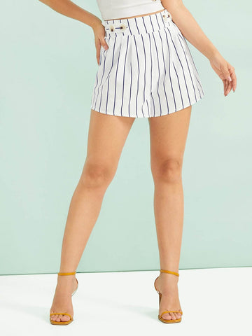 Black and White Mid Waist Buttoned Front Frill Trim Striped Shorts
