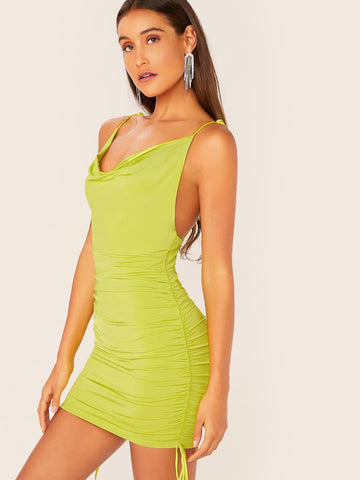 Neon Green Backless Cowl Neck Tie Straps Ruched Side Mini Dress