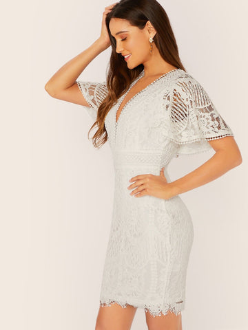 White High Waist V-Neck Kimono Sleeve Back Tie Lace Dress