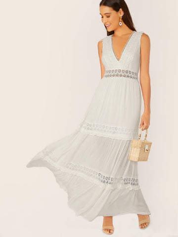 White Sleeveless V-Neck Crochet Lace Trim Back Tie Maxi Dress