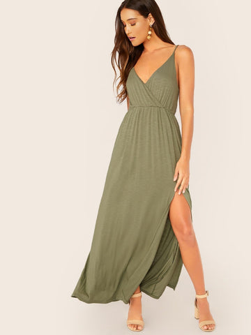 Army Green Sleeveless Surplice Neck Slub Knit Side Slit Maxi Tank Dress