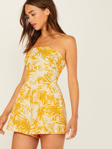 Yellow Sleeveless Back Tropical Print Tube Romper Jumpsuit
