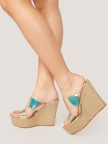 Boho Double Iridescent Band Jute Wrap Platform Wedges Sandals