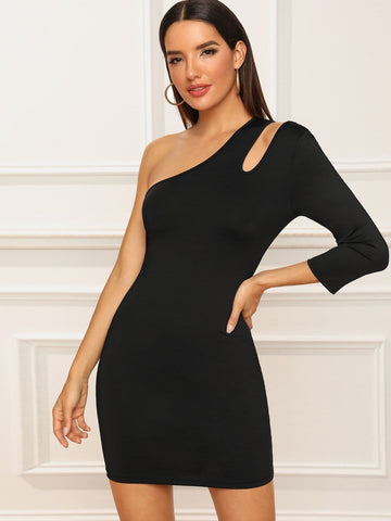 Black Three Quarter Sleeve Cut-out One Shoulder Bodycon Dress