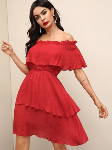 Bright Red Solid Off Shoulder Frill Trim Layered Short Hem Dress
