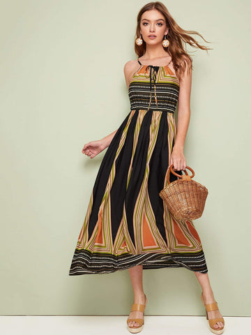 Sleeveless Knot Front Tribal Print High Waist Halter Dress