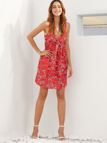Red Sleeveless Floral Print Tie Front Shirred Slip Dress