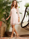 Pastel Pink Round Neck Zip Back Lace Dress With Lining
