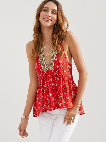 Bright Red V-Neck Sleeveless Floral Drop Armhole High-low Hem Top