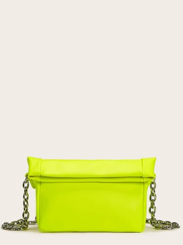 Neon Lime Fold Over Chain Bag
