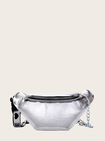 Silver Adjustable Zip Front Clear Fanny Pack Bag