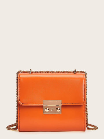 Orange Metal Lock Detail Chain Crossbody Bag