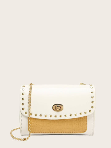 Studded Decor Croc Embossed Chain Bag