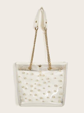 Faux Pearl Decor Clear Bag With Inner Pouch
