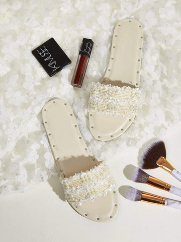 Beige Faux Pearl Decor Open Toe Flat Sliders Slippers