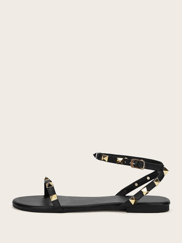 Black Ankle Strap Two Part Studded Decor Sandals