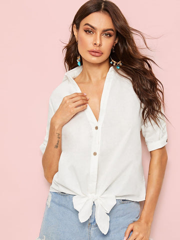 White V-neck Roll Up Sleeve Knot Hem Shirt