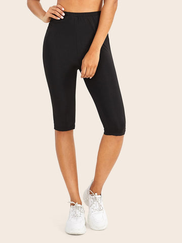 Black Elastic Waist Skinny Solid Leggings Shorts