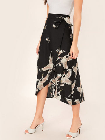 Black Mid Waist Wrap Tie Side Crane Bird Print Skirt