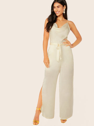 White Sleeveless Cowl Neck Spaghetti Strap Satin Waist Tie Jumpsuit