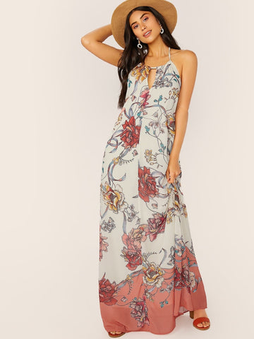 Cut Out Keyhole Halter Neck Sleeveless Floral Maxi Dress