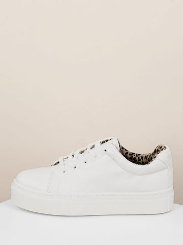 Almond Toe Lace Front Houndstooth Flatform Trainer Sneakers
