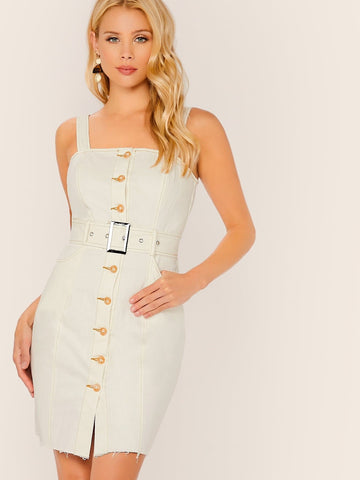 White Sleeveless Single Breasted Buckle Belted Raw Hem Tank Dress