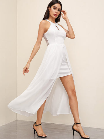 White Sleeveless Cut-out Front Lace Trim Backless Halter Neck Dress
