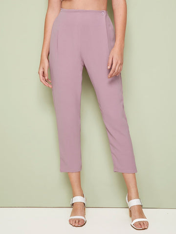 Pink High Waist Button Waist Solid Tapered Crop Pants