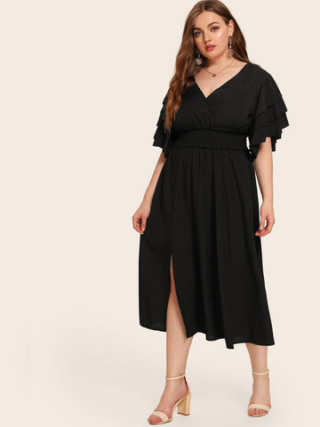 Plus Size Black V-Neck Layered Sleeve Shirred Waist Slit Hem Dress